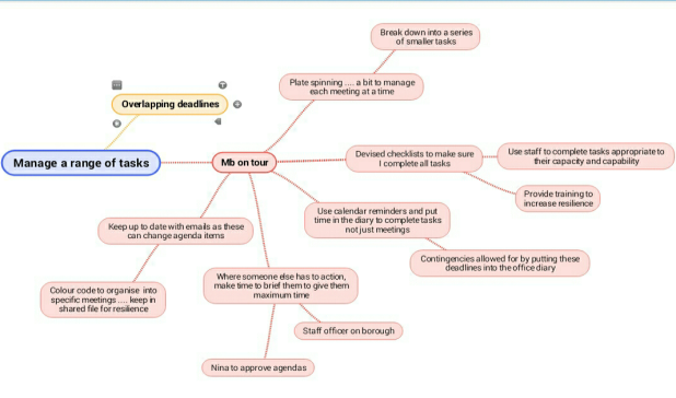 Mind map - a range of tasks